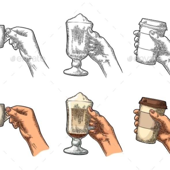 Hands Holding a Cup of Coffee Holder and Glass