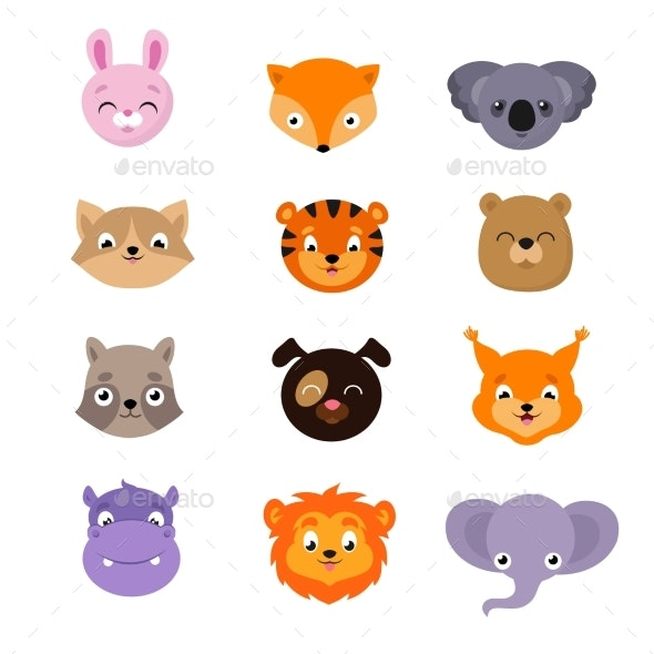 Baby Animal Faces Vector Set - Animals Characters