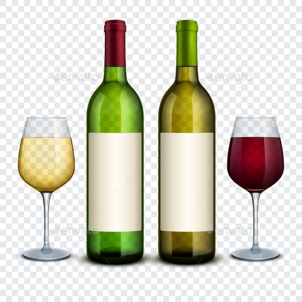 Red and White Wine in Bottles and Wineglasses