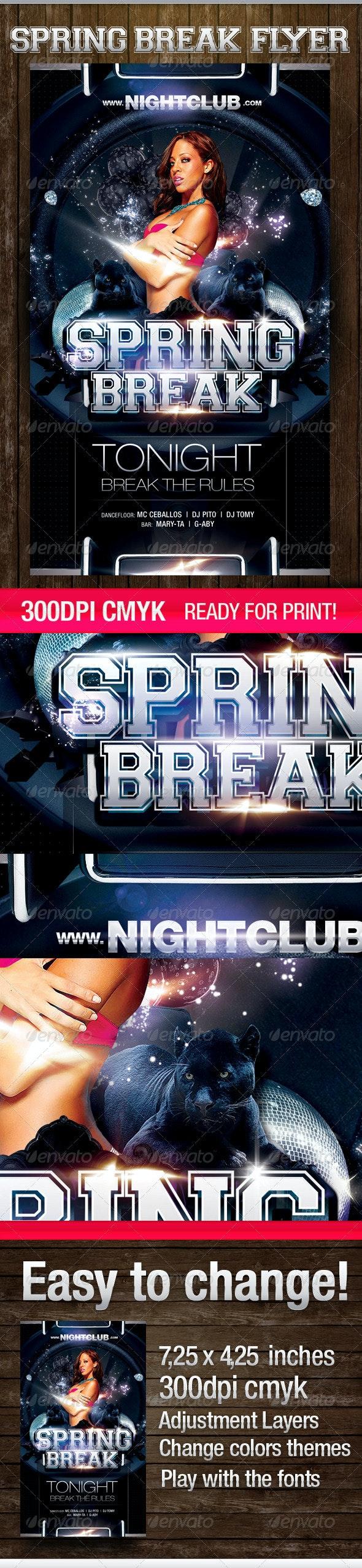 Spring Break Dark Theme - Flyers Print Templates