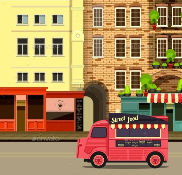 Bus with Street Food - Miscellaneous Vectors
