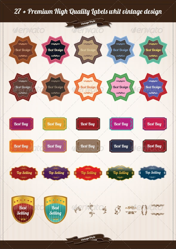27 + Premium High Quality Labels Vintage Designs - Web Elements Vectors
