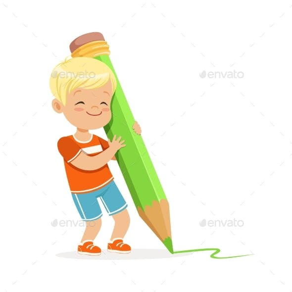 Boy Writing with a Giant Green Pencil
