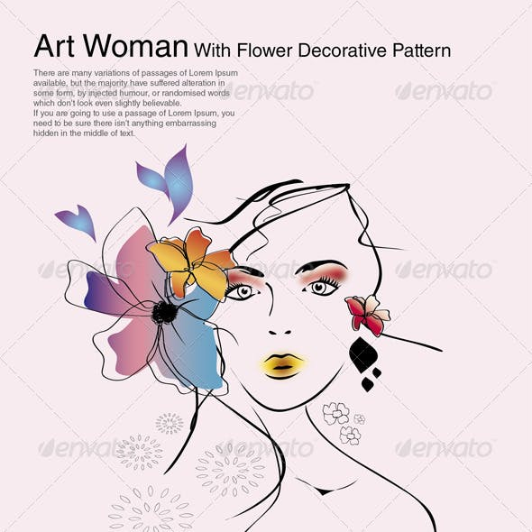 Art Woman With Flower Decorative Pattern
