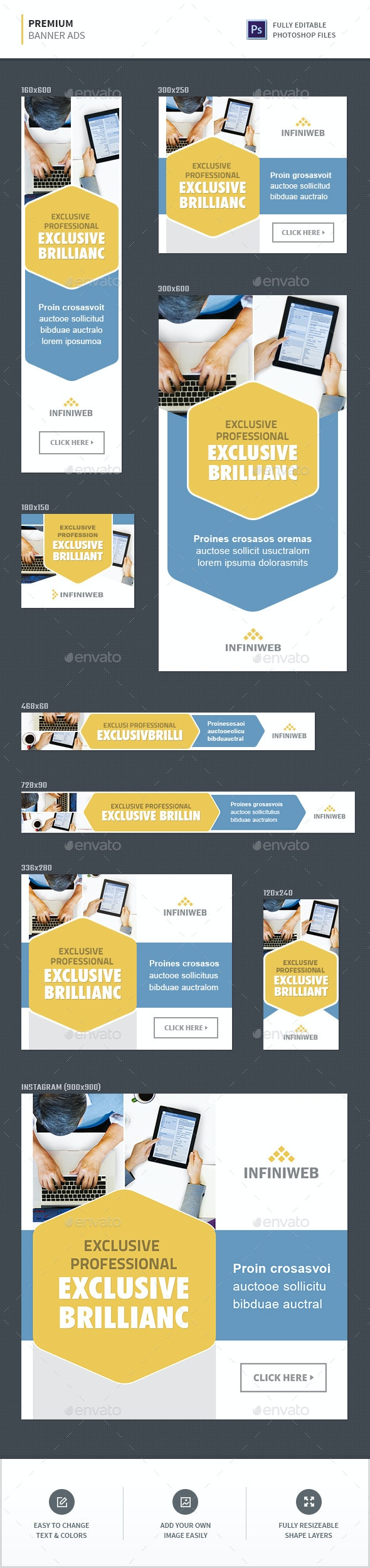 Premium Banner Ads - Banners & Ads Web Elements