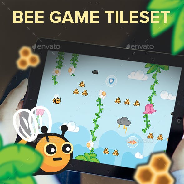Flying Bee Game Assets Tileset