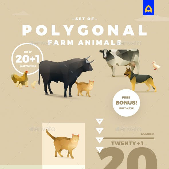 Polygonal Farm Animals