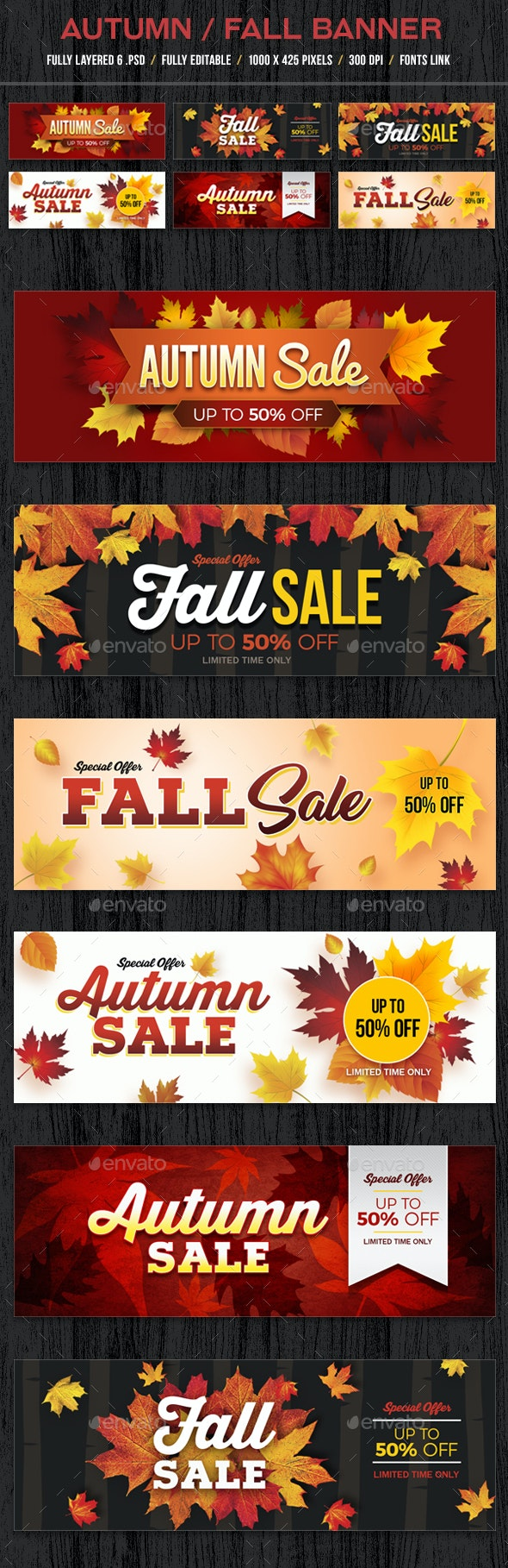 Autumn Fall Banners - Banners & Ads Web Elements