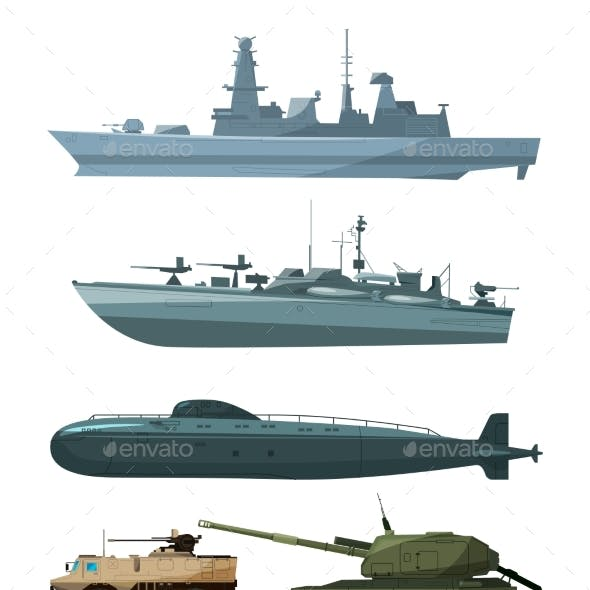 Warships and Armored Vehicles of Land Forces