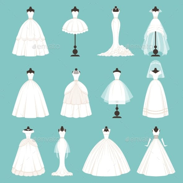 Different Styles of Brides Dresses. Vector