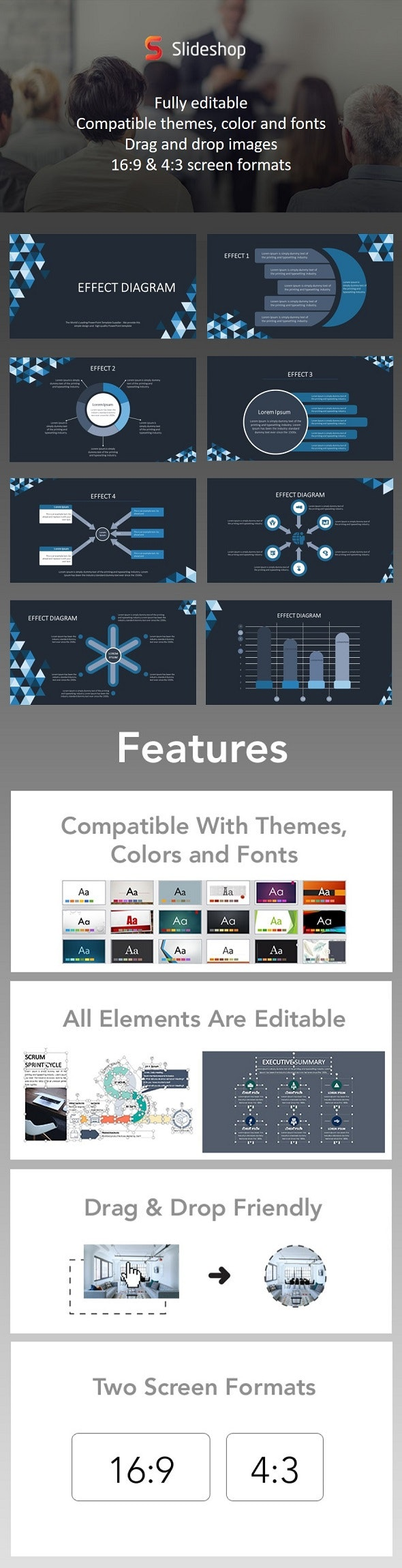 Effect Diagram Animation Blue - PowerPoint Templates Presentation Templates