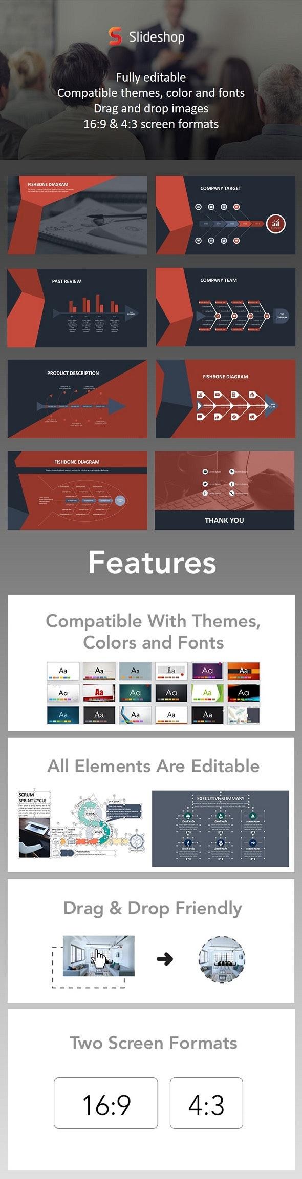 Fishbone Diagram Animation Red - PowerPoint Templates Presentation Templates