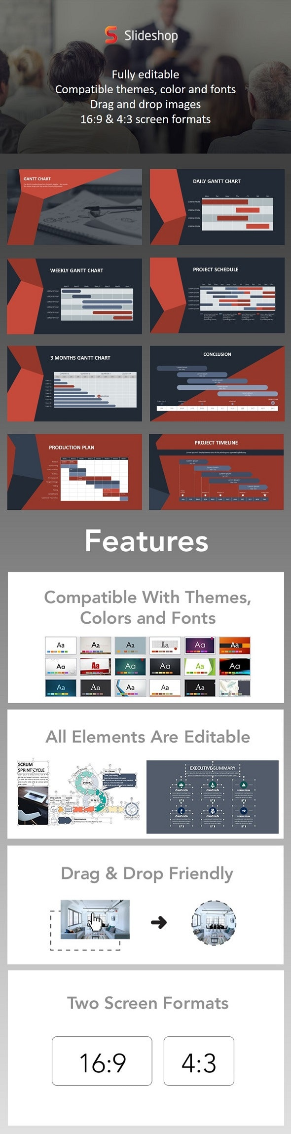 Gantt Chart Animation Red - PowerPoint Templates Presentation Templates
