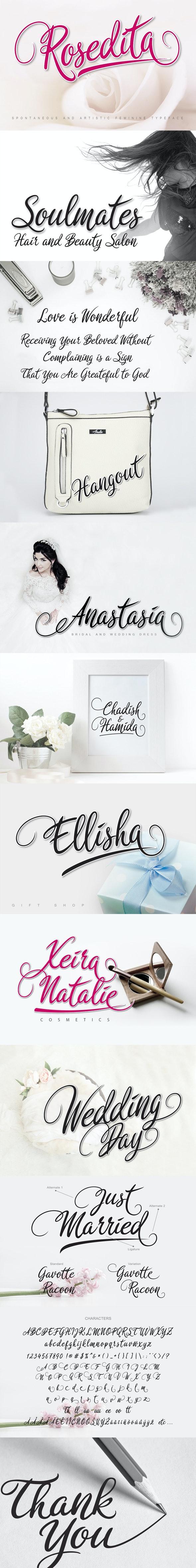 Rosedita Script - Calligraphy Script