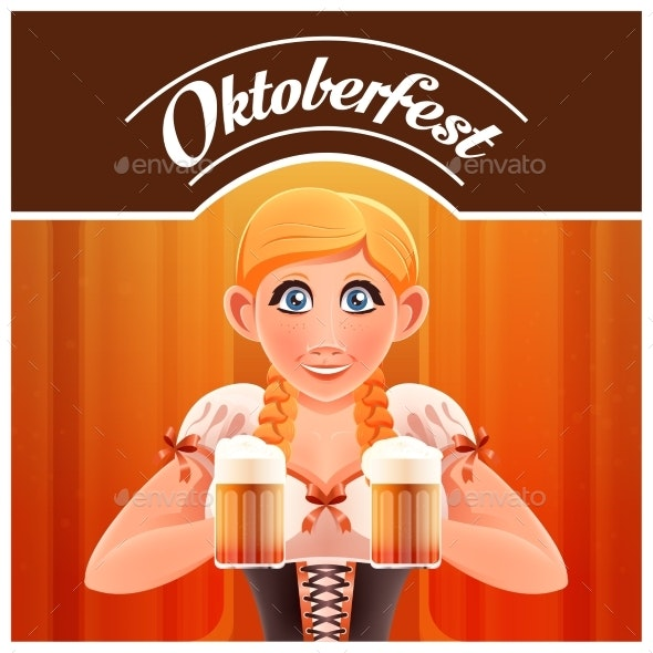 Octoberfest with Woman and Beer Banner - Food Objects