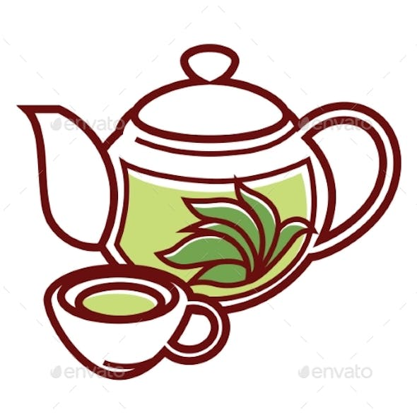 Teapot with Herbal Tea and Cup Vector Isolated