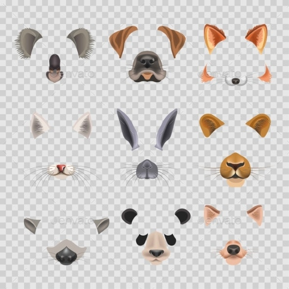 Video Chat Effects Animal Faces Flat Icons - Animals Characters