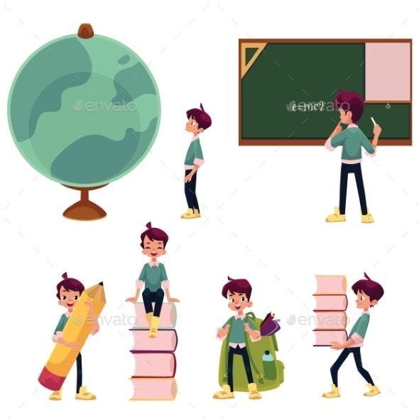 Schoolboy Doing School Activities - People Characters