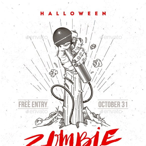 Halloween Zombie Party Poster or Greeting Card