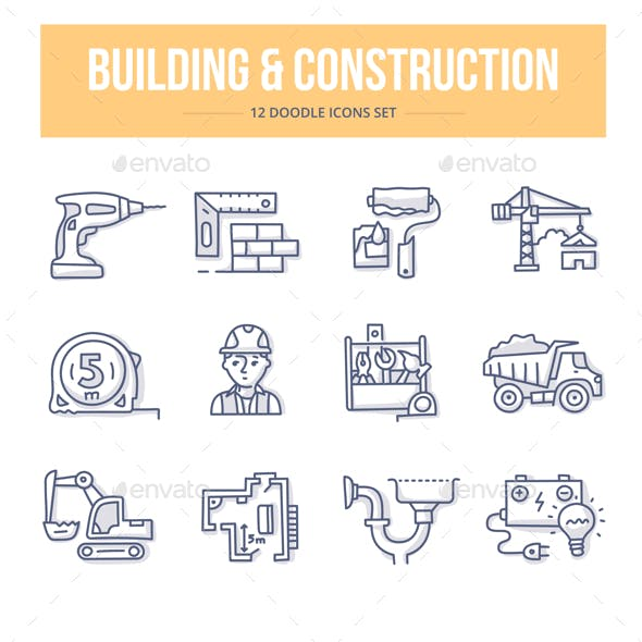 Building & Construction Doodle Icons