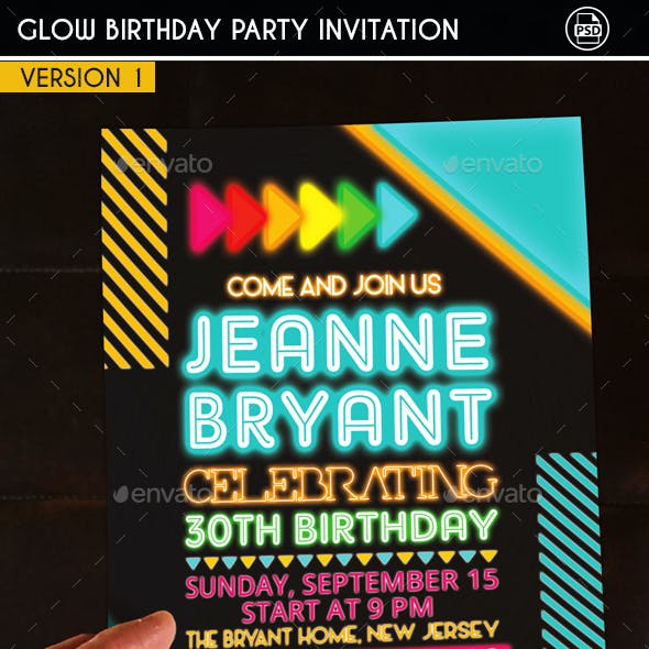 Glow Birthday Party Invitation