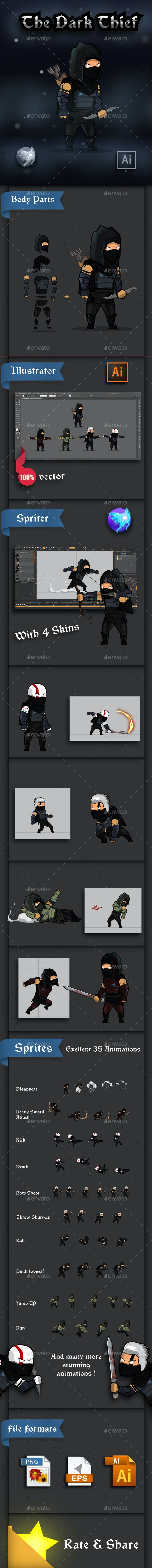 The Dark Thief Game Character Sprites - Sprites Game Assets
