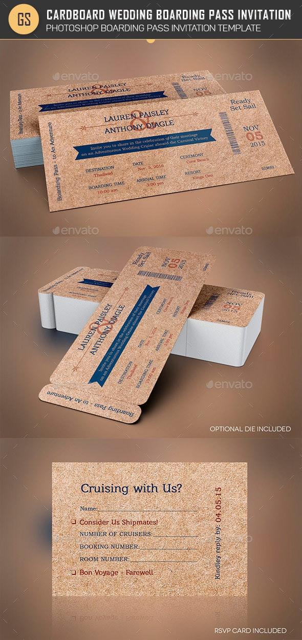 Cardboard Boarding Pass Invitation Template - Weddings Cards & Invites