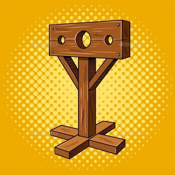Stocks Medieval Instrument Torture Pop Art Vector