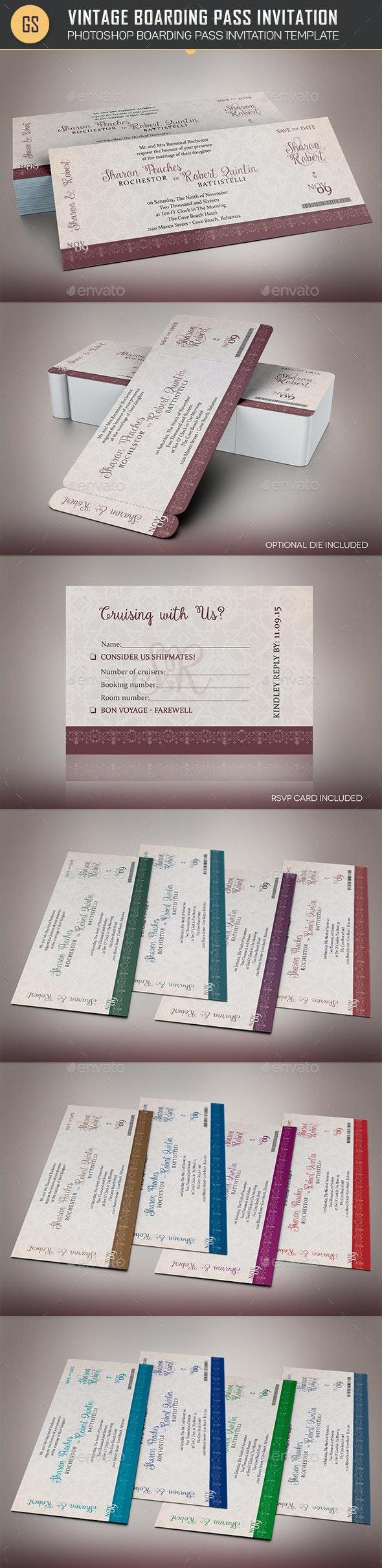 Vintage Boarding Pass Invitation Template - Weddings Cards & Invites