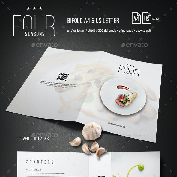 Four Seasons Minimal Food Menu - Bifold - A4 and US Letter