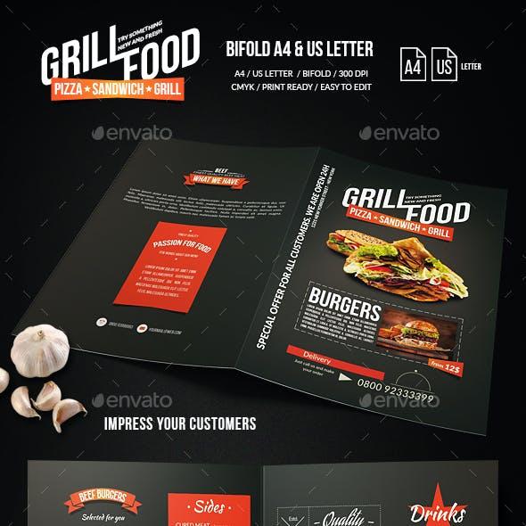 Grill BBQ Bifold Food Menu