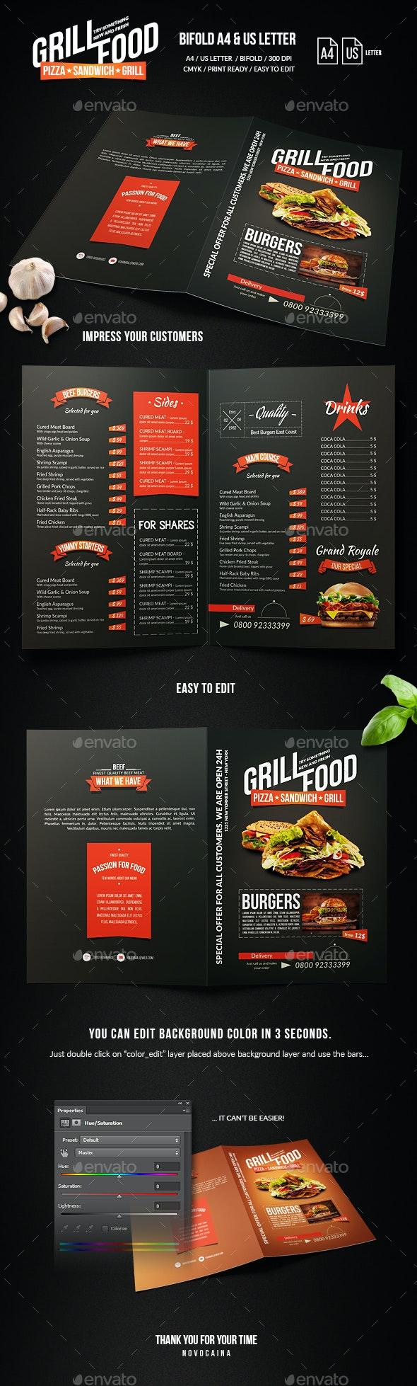 Grill BBQ Bifold Food Menu - Food Menus Print Templates