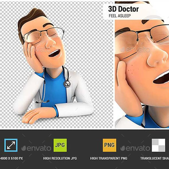 3D Doctor Fell Asleep Leaning on his Hand