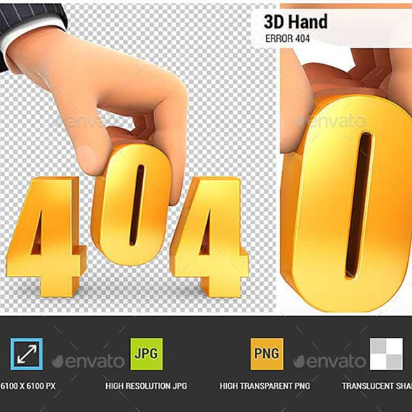 3D Hand and Error 404 Concept
