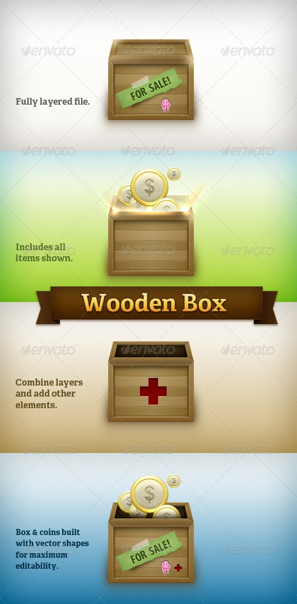 Wooden Box with Label and Coins - Objects Icons