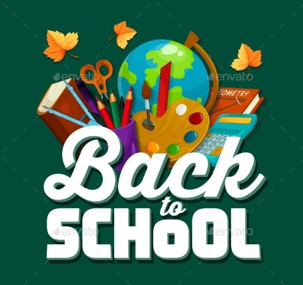 Back To School Vector Chalkboard Poster - Conceptual Vectors
