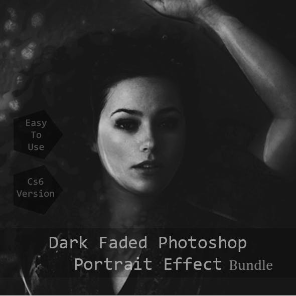 Dark Faded & Golden Light Photoshop Portrait Effects Bundle