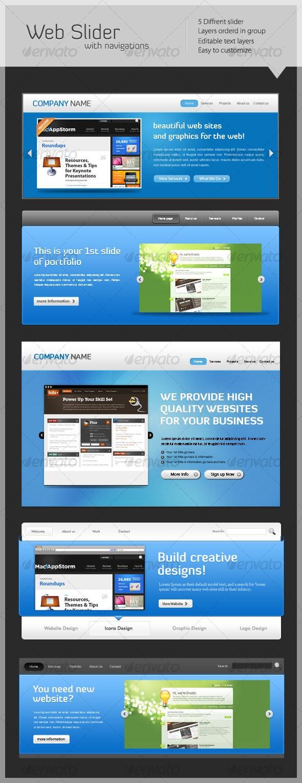 website slider with navigation's  - Web Elements