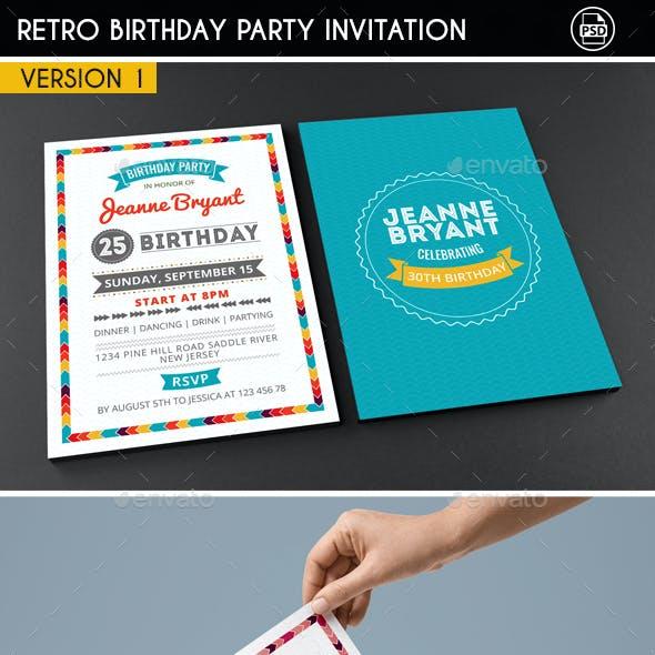 Retro Birthday Invitation 3