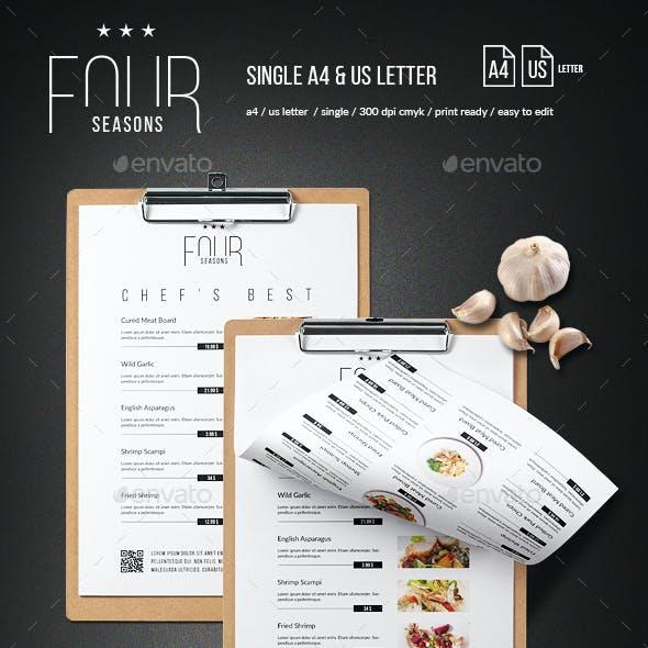 Four Seasons Minimal Menu - A4 and US Letter