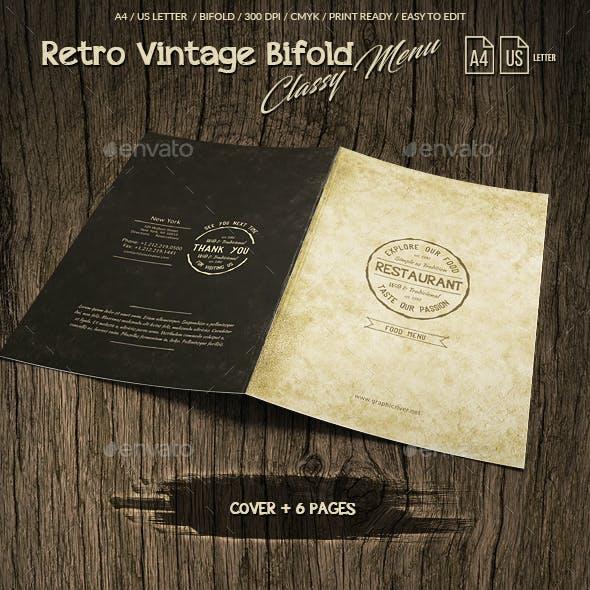 Retro Vintage Bifold Classy Menu - A4 & US Letter - 8 pgs