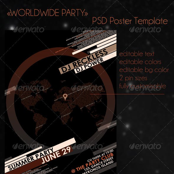 Worldwide Party - PSD A3 Poster