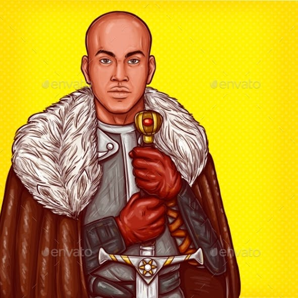 Vector Pop Art Illustration of a Medieval Knight
