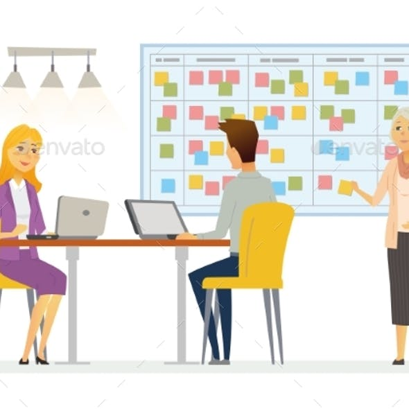 Office Kanban Planning System - Modern Vector
