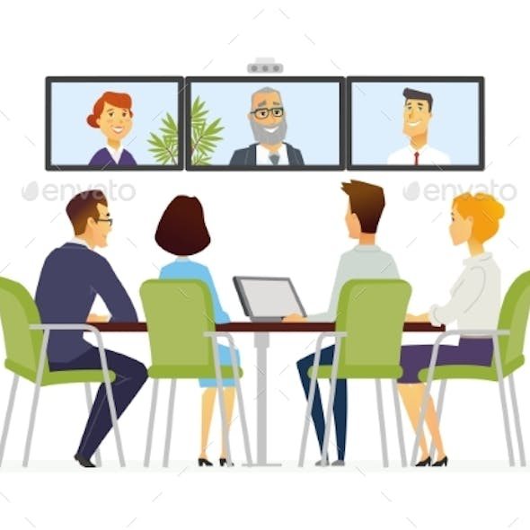 Distance Meeting - Modern Vector Business Cartoon