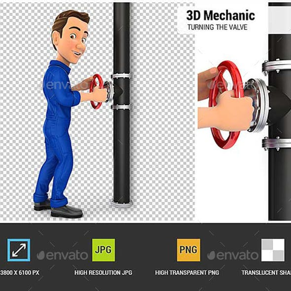 3D Mechanic Turning the Valve