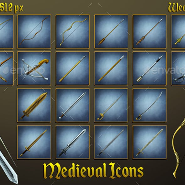 Middle Ages Icons: Swords, Bows, Arrows and Bolts