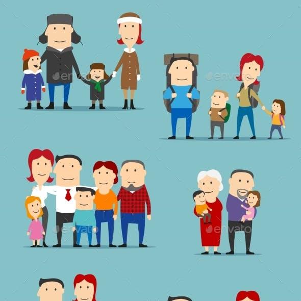Family Activities Cartoon Characters Set