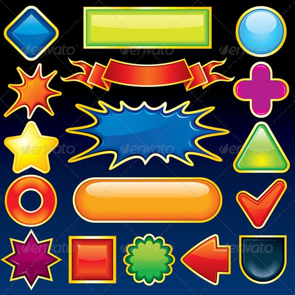 Glossy Design Elements - Decorative Symbols Decorative