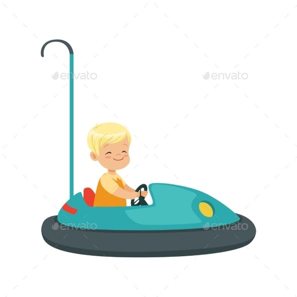 Boy Riding Bumper Car